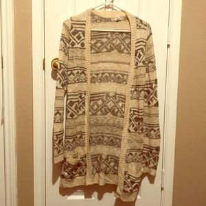 Cream and charcoal lightweight cardigan